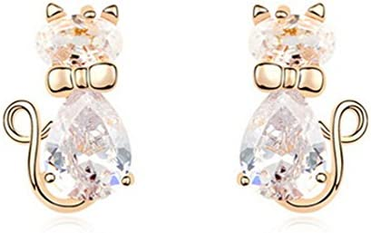 18K Gold Diamond Gemstone Cubic Zirconia Animal Kitty Cat Stud Earrings Hypoallergenic for Girls product image