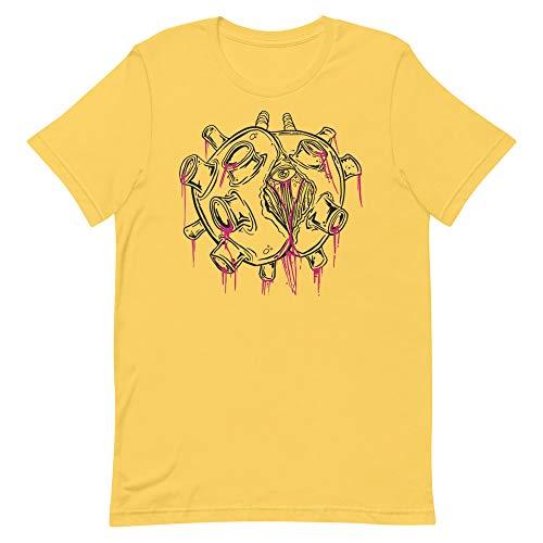 Zombie Virus Pandemic Men's T-Shirt Quarantine Horror Graphic Tee Design Yellow