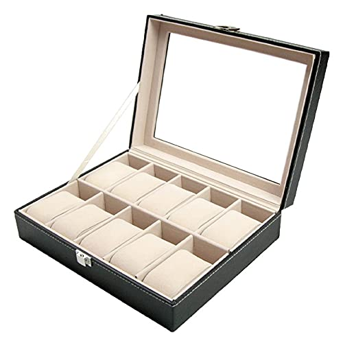 Caja de reloj de 10 ranuras, organizador de PU, almohadas suaves, caja de reloj de cuero, caja de almacenamiento de exhibición decorativa para hombres, mujeres, oficina en casa