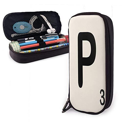 Scrabble Fliesen Y Pu Leder Federmäppchen mit Reißverschluss Big Caity Tragetasche für das Schulbüro