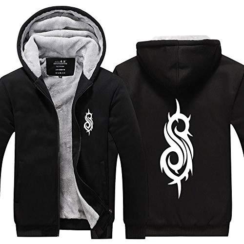 BBSC Herren-Jacken-Strickjacke Slipknot Band-Druck Beiläufigen Winter-Stitching Zip Warm Mit Kapuze Langarm-Sweatshirt -Unisexe Zip Black-XL