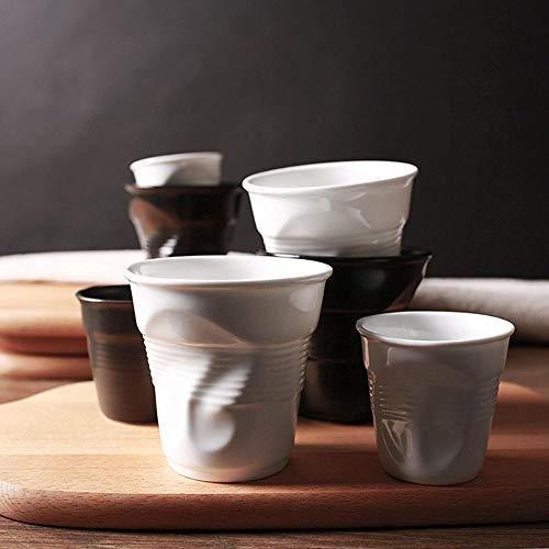Kreative Tasse Hochwertige Keramik Kurze Porzellan Kaffeetassen Schwarz Matt Weiß Europäischen Stil Frühstück Milch Tee Tasse Origami Tassen Drinkware, Schwarz, 100 Ml
