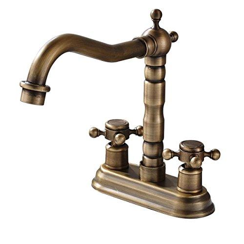 ANNTYE Lavabo Del Fregadero Grifo Moderno Grifo 4-pulgada el agujero central 2 Pomos Latón AntiguoGrifos de lavabo para baño Cocina Aseo