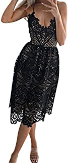 2019 Neu Damen Sling Lace Neckholder Kleid,Frauen Sexy Party Cocktail Backless ärmelloses Minikleid Kurze Brautjungfern Abendgesellschaft Kleider Elegante knielangen Sommerkleid