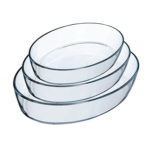 Bandeja para Pizza Conjunto de platos para hornear de vidrio, 3 piezas - plato de cazuela, pan para hornear ovalado Clear Bakeware Set, Brownie Pans para la cena de pastel, cocina Platos para pizza