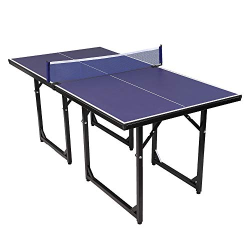 Best Price PEXMOR Foldable Table Tennis Ping Pong Table, Pre-Assembled Multi-Use Midsize Compact Tab...