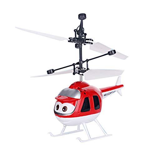 BOBORA Avión de Inducción con Juguete Helicoptero RC Juguete de Avión de Sistema de Control Dual Juguete Volador Niños (Rojo)