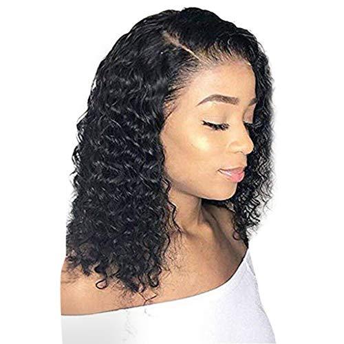 Pelucas de pelo humano brasileño ondulado con encaje frontal, 45 cm