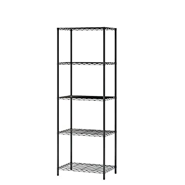 MULSH 5-Tier Wire Shelving Metal Wire Shelf Storage Rack Durable Organizer Unit Perfect for Kitchen Garage Pantry Organization in Black,21  Wx14 Dx62 H