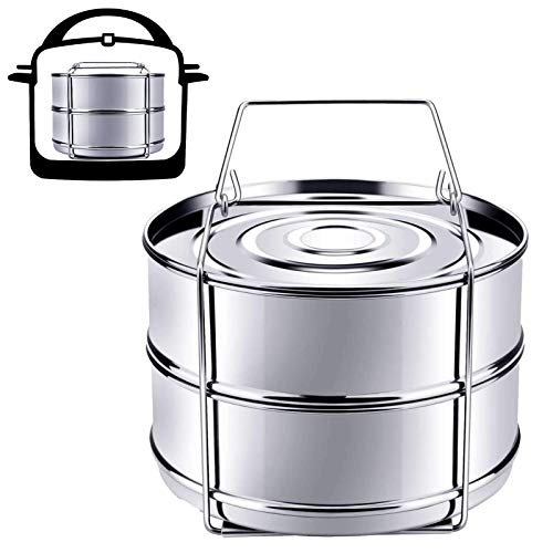 Stainless Steel Stackable Insert Pressure Cooker Steamer Cooking Insert Pans with Sling, Stackable Steamer Insert Pans For Instant Pot, Stackable Pot in Pot Interchangeable Lids Set of Two Pans