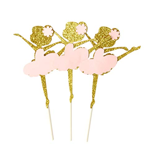BESTonZON 10 unids Pastel Topper Ballet Princesa Postre para Bodas cumpleaños Fiesta de Bienvenida al bebé Decoraciones del Partido