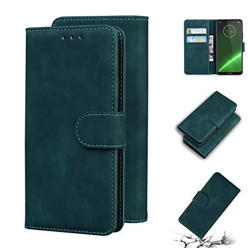 Snow Color Moto G7/G7 Plus Hülle, Premium Leder Tasche Flip Wallet Case [Standfunktion] [Kartenfächern] PU-Leder Schutzhülle Brieftasche Handyhülle für Motorola Moto G7/G7Plus - COTX010565 Grün
