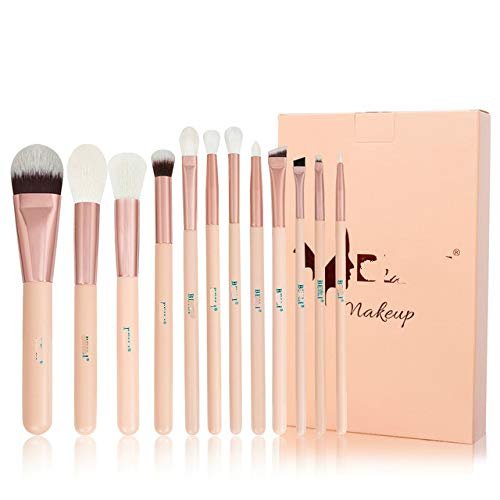 Matte Pink Makeup Brushes Set Ziegenhaar Nano Powder Foundation Concealer Blush Lidschatten...