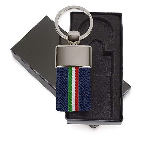 Sleutelhanger met Italiaanse vlag (5 stuks) – klassieke en robuuste Ubriqueel stof – met de beste afwerking. Gelimiteerd leven, originele sleutelhanger van roestvrij staal.