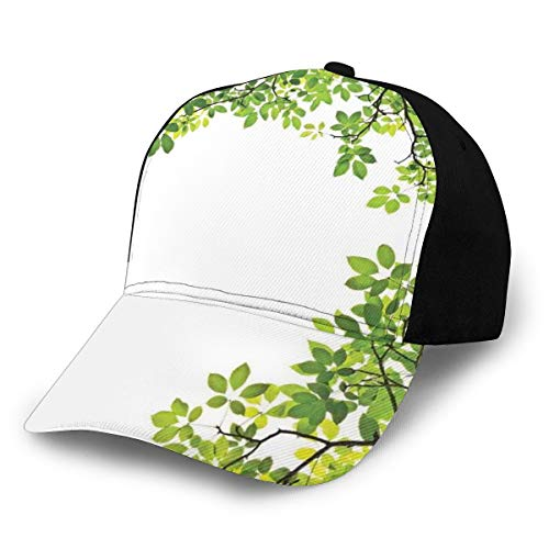 GULTMEE Men Women Adjustable Baseball Cap Hat Broad Leaves Close-Up Background Garden Organic Foliage Shrubs Cells Plant Image