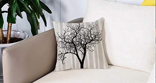 Pillow Case Cojín Cuadrado Print,Lonely Tree Blanco y negro Otoño Invierno Ramas Minions ations Diseño de arte Impresión digitaAdecuado para Oficina, Familia, automóvil, cafetería, Tienda, 45x45cm