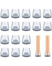 VABNEER Stoel been vloerbeschermers, 16st ronde transparante siliconen stoel been caps met vilt pads, stoel tafel voeten covers voor hardhouten vloeren (20-24mm)