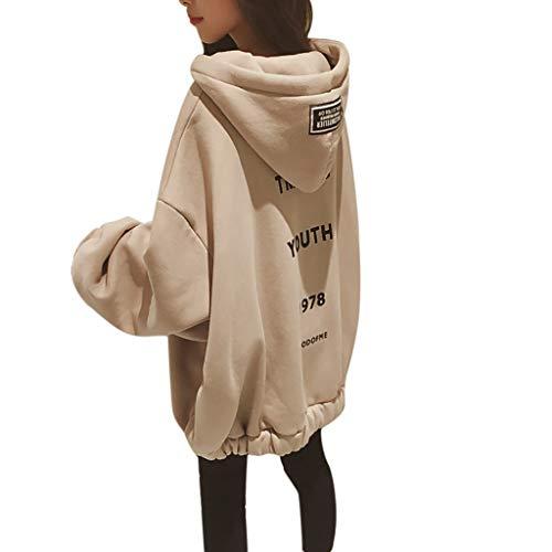 Lazzboy Kapuzenpullover Frauen Lose Large Zipper Letter Print Verdickung Sweater Damen Lange Ärmel Hoodie Pullover Frauen Mantel Jacke Lang Kapuzenpullis Pulli(Khaki,4XL)