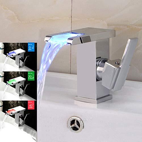 LED-Wasserhahn, für Badezimmer, beleuchtet, Kupfer, Wasserfall, Waschbecken, Einlocharmatur, Becken, Warm- und Kaltwasserhahn