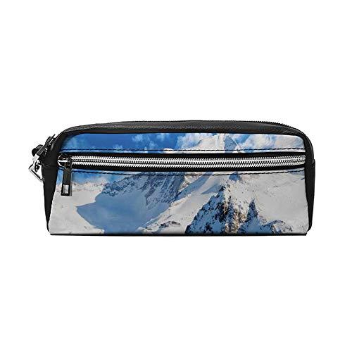 Mountain Landscape Ski Slope Winter Sport Telfer en Snowboarden Afbeelding PU Lederen Potlood Case Make-up Bag Cosmetische Tas Potlood Pouch met Rits Reizen Toilettas voor Vrouwen Meisjes