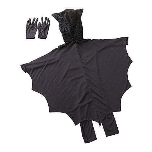 Abito Bat Unisex Vampire Bat Animal Costume di Halloween con i Guanti per i Bambini del Partito Decorazione di Halloween Nero S 1Set