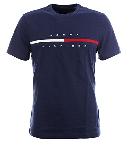 Tommy Hilfiger Mens Classic Fit Big Logo T-Shirt (Navy Blazer, Large)