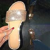 DZQQ Sandalias de Diamantes de imitación para Mujer, Zapatos de Playa de Verano, Zapatillas con Purpurina para Mujer, Zapatos de cuña para Mujer