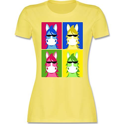Statement - Horse Popart - XXL - Lemon Gelb - Statement - L191 - Tailliertes Tshirt für Damen und Frauen T-Shirt
