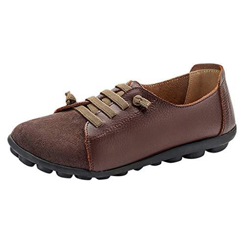 ZHANSANFM Damen Mädchen Halbschuhe Low-Top Weichem fußbett Schnürschuhe Slip On Atmungsaktiv Leicht Flacheschuhe Freizeitschuhe Sneaker Einzelnen Schuhen (39 EU, Braun)