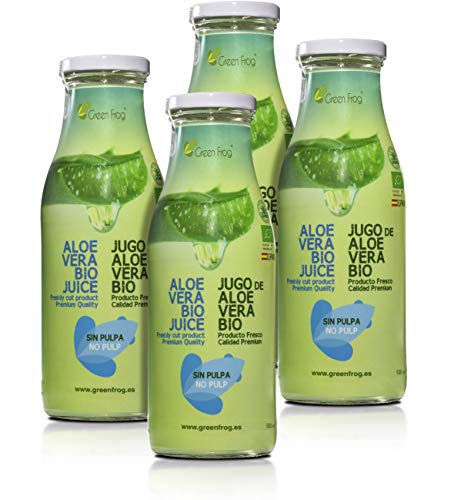 Green Frog Jugo de Aloe Vera Bio sin Pulpa, Aloe Vera Fresco para Beber Ecológico Elaborado en España Pack de 4 Botellas, 4x500 ml