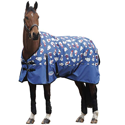 Weatherbeeta Comfitec Essential Midweight Horse Blanket 600DWaterproof and Breathable Standard Neck Turnout Polar Bear Print 72'