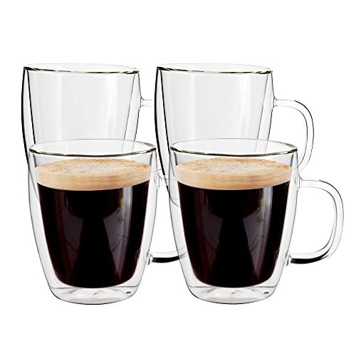 Yuncang Glass Coffee Mugs 4 Pack ,16 oz(500 ml),Double Wall Insulated Glass Mugs Cups with Handle,Cappuccino Cups with Cleaning Brush,Perfect for Americano,Latte,Beverage,Cappuccinos,Espresso Cups