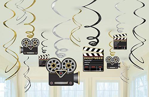 Amscan Hollywood Swirls Dekorationen, mehrfarbig, Amerikanische Größe