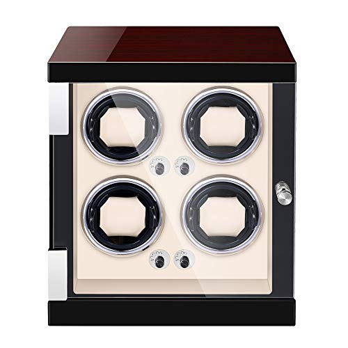 JQUEEN Watch Winder for 4 Automatic Watches,Quite Japanese Motor with LED Illumination