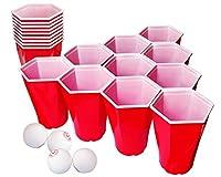 🔝 🚀 LE KIT : Un Kit unique avec 22 grands gobelets rouges américains hexagonaux et 4 balles. 🍺 🏓 BEER PONG : Découvre une nouvelle version du Beer Pong où les gobelets à 6 côtés s'imbriquent. Ils sont plus stables puisqu'il n'y a aucun espace entre e...