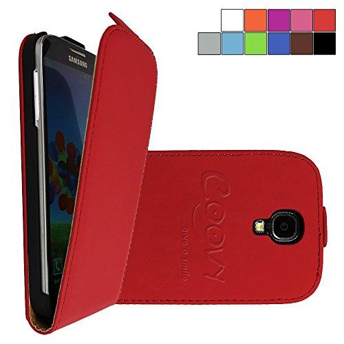 COOVY® Funda para Samsung Galaxy S4 GT-i9500 GT-i9505 GT-i9506 Cubierta Delgado, con Tapa, lámina Protectora de Pantalla | Color Rojo