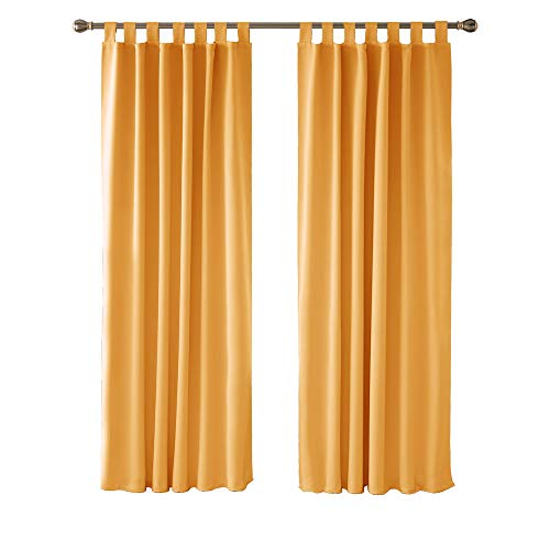 Deconovo Cortinas de Salón Modernas Aislante Térmico Funcional Estilo Moderno Elegante para Sala con Trabillas 2 Piezas 140 x 210 cm Naranja