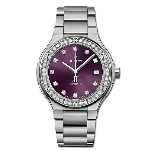 Hublot Classic Fusion Titanium Purple Diamonds 568.NX.897V.NX.1204 - Pulsera de titanio, color morado