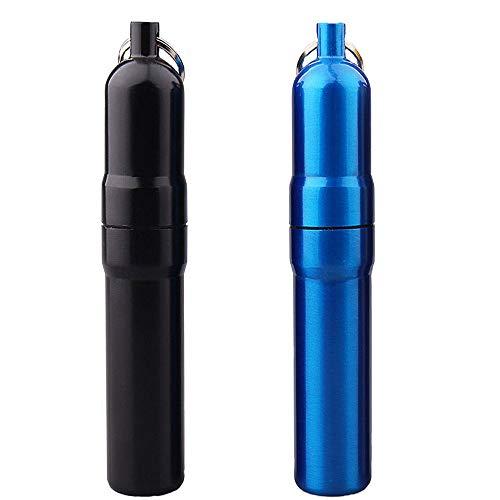 2 Piezas Mini Estuche para Cigarrillos, Pitillera de Metal, Pitillera de Aluminio, Estuche de Cigarrillos de Metal con Llavero para Regalos para Hombres, Actividades Al Aire Libre (Negro, Azul)