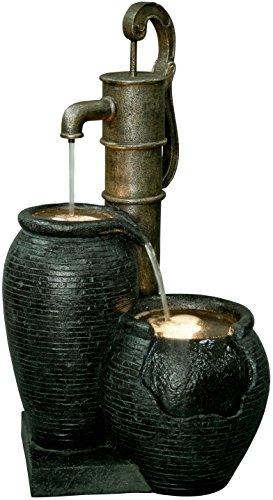 dobar Großer Design Garten-Brunnen mit Pumpe und LED´s, Polyresin, schwarz-braun, 47.5 x 38.5 x 84 cm, 96200e