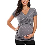 Maternity Tops for Women, Women's Maternity Tops Short Sleeve Breastfeeding Wrap Pregnant Blouse Tunic Top Pregnancy Shirts Gray