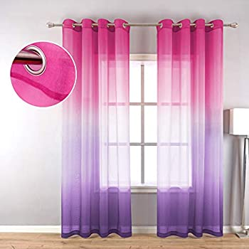 Purple and Pink Sheer Curtains for Girls Bedroom Decor 2 Panels Grommet Faux Linen Ombre Window Semi Sheer Curtains for Living Room Decoration All Year Girls Gift Wedding Party Backdrop 84 Inch Length