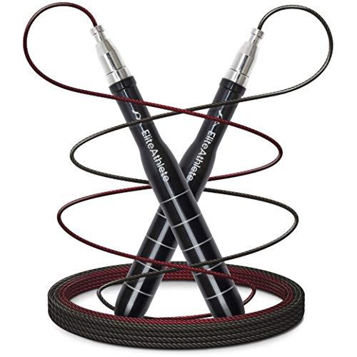 EliteAthlete Springseil - Speed Rope mit Ersatzkabel - 2 verstellbare Seile - Profi Kugellager - Anti-Rutsch Griffe - Fitness, Crossfit, Profi Sport, Boxen - Jump Rope Erwachsene inkl. Tasche