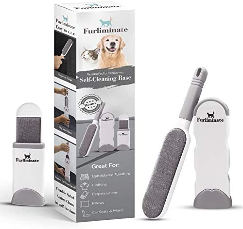 Furliminate Pet Hair Remover & Lint Brush - Easy & Effective Dog & Cat Fur Removal for Clothes, Furniture, Carpet, Car & More - Reusable & Eco Friendly - Self Cleaning - Better Than Rollers