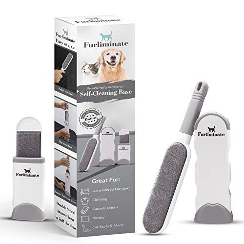 Cepillo removedor de pelo de mascotas Furliminate y cepillo para pelusas, fácil y eficaz, para la eliminación de pelo de perros y gatos para ropa, muebles,coche y más – reutilizable y respetuoso