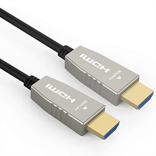RUIPRO 12 Metros Cable HDMI de Fibra 4K 60Hz HDMI 2.0 18.2 Gbps ARC HDR10 Dolby Vision HDCP2.2 4:4:4 Cable óptico HDMI Ultra Delgado y Flexible con tecnología óptica