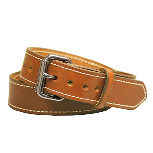 Gun Belt, English Bridle Leather, 14 Ounce - Stainless Steel Hardware - Handmade in the USA! by Exos (40 - For 36' Waist, Saddle Tan)