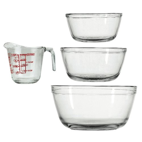 Anchor Hocking 4-Piece Mixing Bowls and Measuring Cup S
