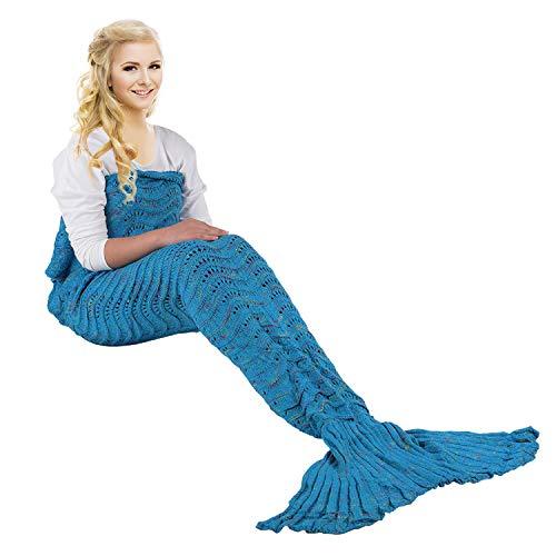 eCrazyBaby Tragbar Meerjungfrau Schwanz Decke, Alle Jahreszeiten Warm Gestrickte Bettdecke Sofa Steppdecke Wohnzimmer Schlafsack für Kinder und Erwachsene, Wellenmuster, 180 x 90 cm, Pfauenblau