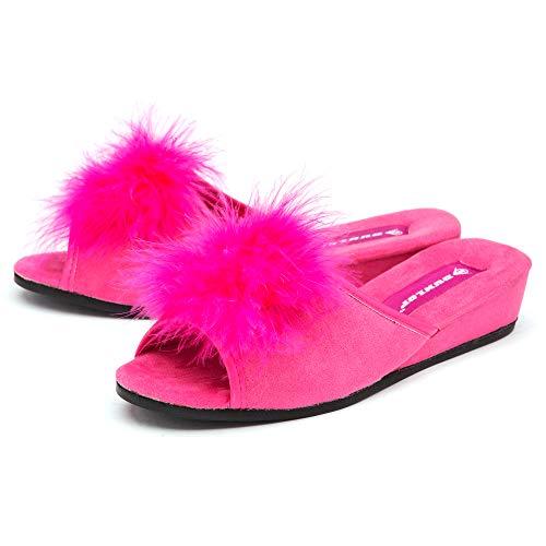 Dunlop Pantuflas sexy para mujer con tacón de cuña, plumas boa, punta abierta, tallas 33-8, color Rosa, talla 36 EU